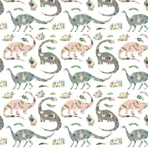 "floral patchwork dinosaurs - 4"" wide"