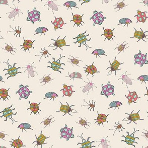 Beetle, bugs, insects, hand drawn repeating pattern, pink, cream, purple, gold, green and blue