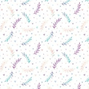 scattered heart pink and teal paint waves