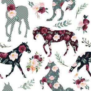 crimson paprika floral horses
