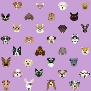 dogs and cats glasses fabric - dog glasses, cat glasses, pet faces glasses, cute dogs - lavender