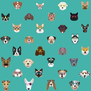dogs and cats glasses fabric - dog glasses, cat glasses, pet faces glasses, cute dogs - teal