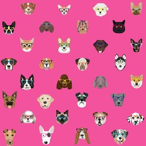 dogs and cats glasses fabric - dog glasses, cat glasses, pet faces glasses, cute dogs - pink