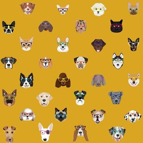dogs and cats glasses fabric - dog glasses, cat glasses, pet faces glasses, cute dogs -mustard
