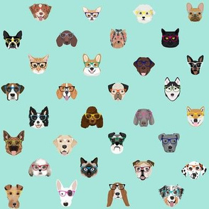 dogs and cats glasses fabric - dog glasses, cat glasses, pet faces glasses, cute dogs - mint