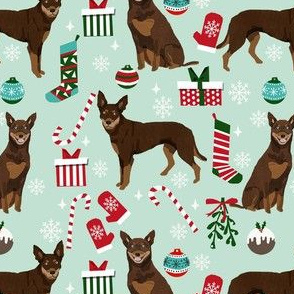 kelpie christmas fabric - dog fabric, australian kelpie fabric, dog breed fabric, dog christmas - mint