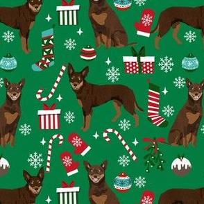 kelpie christmas fabric - dog fabric, australian kelpie fabric, dog breed fabric, dog christmas - green