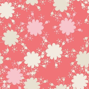 whimsical sun hand drawn repeating pattern pink, red, cream
