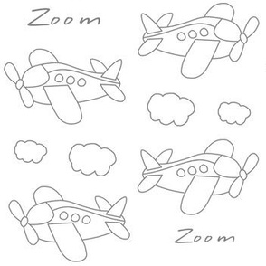 Airplanes Kids Baby Nursery Line Drawing