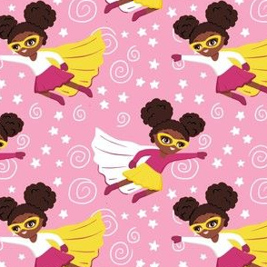 Little African American superhero girls