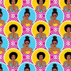 African american girls retro pop-art