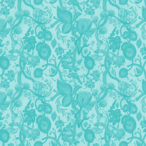 META CHINTZ 50s Retro Turquoise onTurquoise Wash