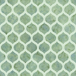 Green Watercolor Moroccan Quatrefoil