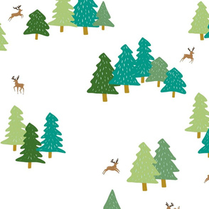 Forest and Deer Half