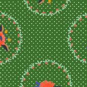 Floral and Polka Dots Green