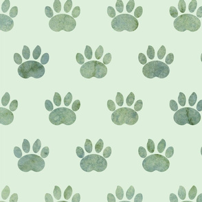 Green watercolor Paw dot pattern