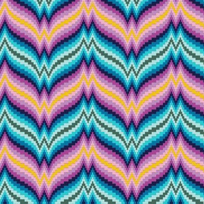 Bargello Afghan* (Multi) || knit crochet stitch zig zag chevron 70s retro jewel tones psychedelic