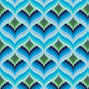 Bargello Blossom* (Sky) || knit crochet stitch flower floral 70s retro jewel tones