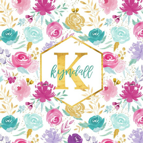 Kyndall Initial Lovey Floral - Personalized