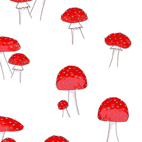 Whimsical toadstools on White Large Scale