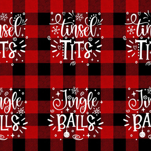Funny/Rude Christmas Cushions - Tinsel Tits and Jingle Balls18 inches square
