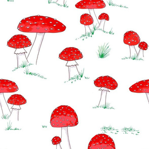 Whimsical toadstools with grass on white medium scale