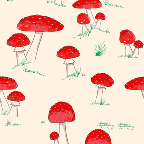Whimsical toadstools with grass on cream