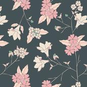 Garden Flowers - dark background