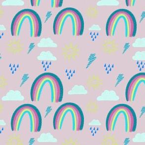 Pink skies chalk rainbow