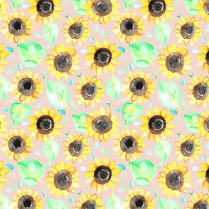 Cheerful Watercolor Sunflowers on Blush - Small Scale