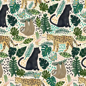 Emerald Forest Animals on Pink - Small Scale