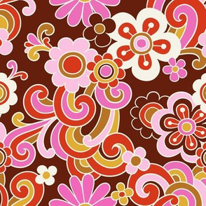 flower power - maroon, small