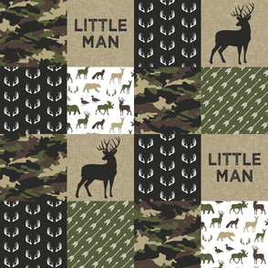 Little Man Camo Patchwork - Woodland wholecloth - C2 camouflage C19BS