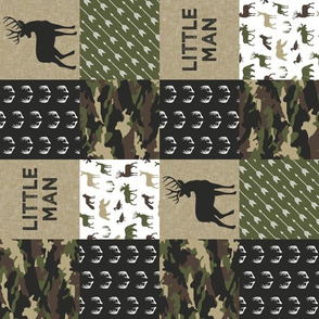 Little Man Camo Patchwork - Woodland wholecloth - C2 camouflage C19BS (90)