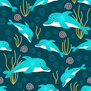 Whimsical lace dolphins underwater wonderland Wallpaper