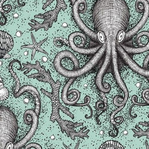 Octopus Damask  in Sea Foam- LG