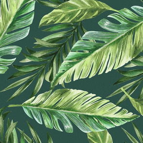 Green color seamless pattern with hand drawn watercolor palm tree leaves