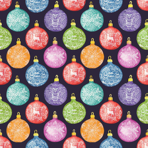 Christmas decorative balls Seamless pattern with winter ornaments