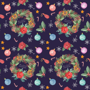 Seamless pattern with Christmas wreath_ decoration balls_ candies_ tassels_ snowflakes. Hand drawn watercolor illustration