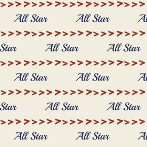 All Star navy MED 758 baseball stitch red cream