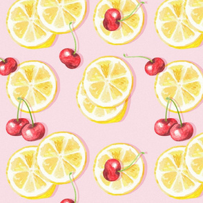 Cherry lemonade - seamless pattern with watercolor illustrations of cherry and lemons