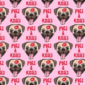 Pugs & Kisses - cute pug dog valentines - pink - LAD19