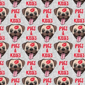 Pugs & Kisses - cute pug dog valentines - red and grey  - LAD19