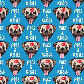 Pugs & Kisses - cute pug dog valentines - blue - LAD19