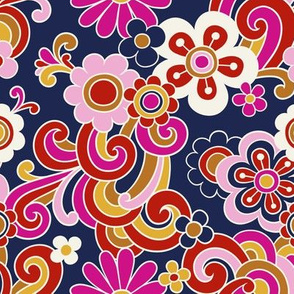 flower power - navy, small