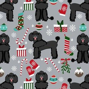 black poodle christmas fabric - poodle fabric, christmas poodle, christmas dog fabric - grey