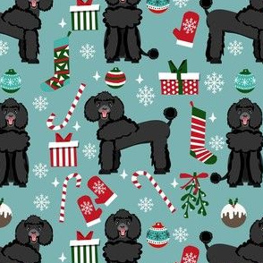 black poodle christmas fabric - poodle fabric, christmas poodle, christmas dog fabric - blue