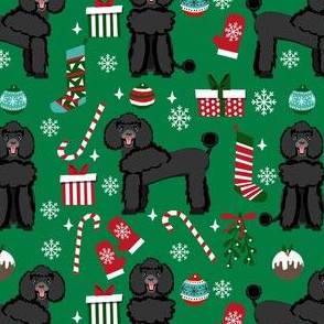 black poodle christmas fabric - poodle fabric, christmas poodle, christmas dog fabric - green
