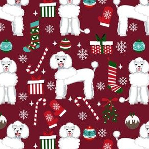white poodle christmas fabric - poodle fabric, christmas poodle, christmas dog fabric - ruby