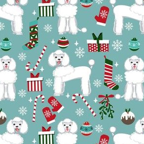 white poodle christmas fabric - poodle fabric, christmas poodle, christmas dog fabric - blue